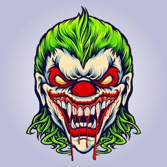 사악한 화난 조커 블러드 뱀파이어 벡터 삽화 로고, 마스코트 상품 티셔츠, 스티커 및 라벨 디자인, 포스터, 인사말 카드 광고 비즈니스 회사 또는 브랜드.