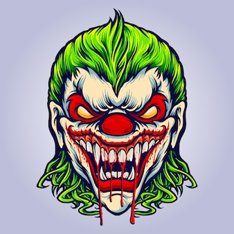 Evil angry joker blood vampire vector illustrations for your work logo, mascot merchandise t-shirt, stickers and label designs, poster, greeting cards advertising business company or brands.