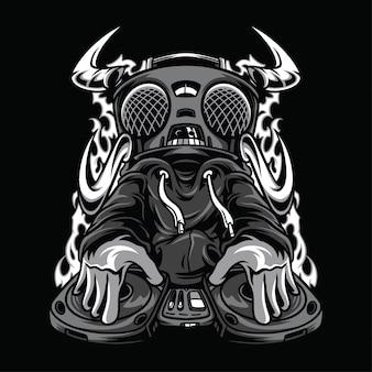 Evil beats black and white illustration