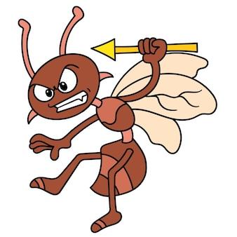 Злые пчелы летают насекомые с сердитыми лицами, готовыми атаковать, каракули рисовать каваи. векторная иллюстрация искусства