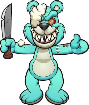 Злой синий мишка тедди держит кухонный нож
