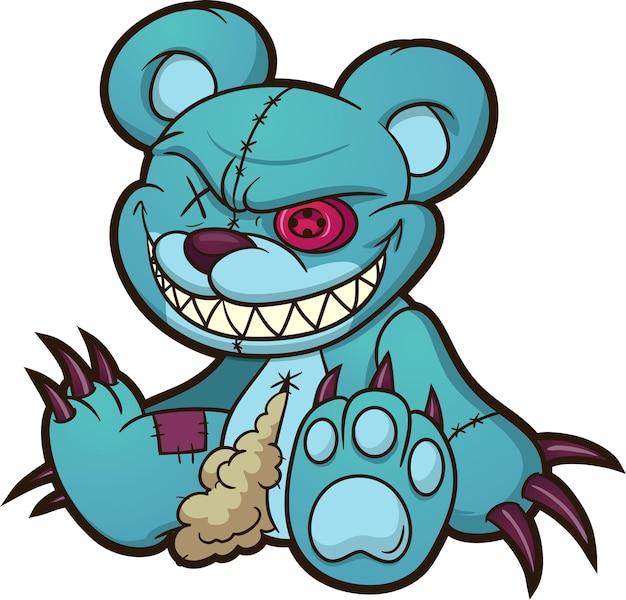 Злой синий плюшевый мишка сидит иллюстрации