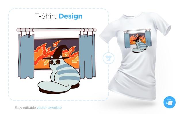 火の背景のtシャツのデザインに座っている邪悪な猫