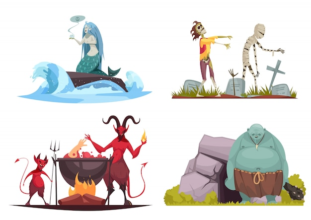Evil character concept 4 cartoon compositions with wicked sea witch tricking mermaid haunted cemetery isolated