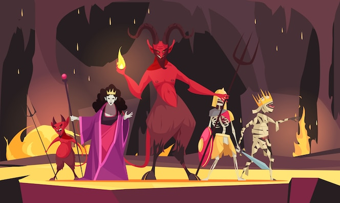 Evil characters cartoon composition with red  demon from hell devil wicked queen dark scary