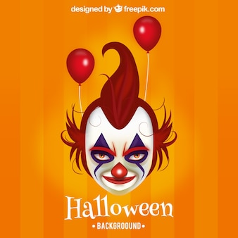 Evil clown halloween background with red balloons