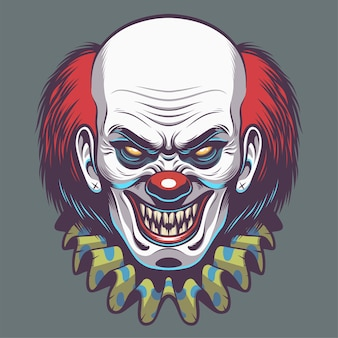 Evil clown head illustration for design element