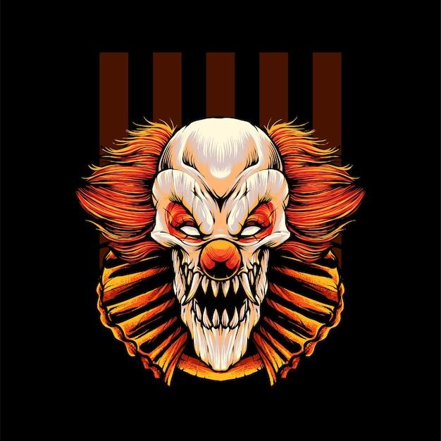 Иллюстрация футболки злого клоуна premium векторы
