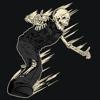 Evil demon skeleton snowboarding illustration