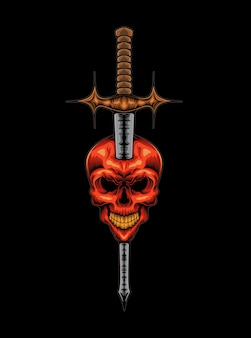 Evil demon skull and sword