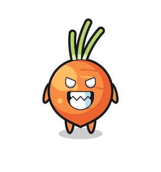 Evil expression of the carrot cute mascot character , cute style design for t shirt, sticker, logo element