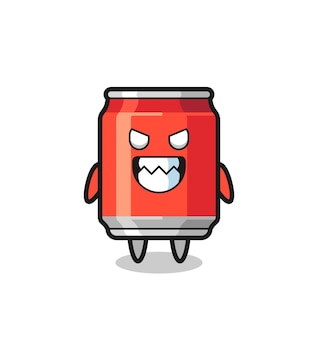 Evil expression of the drink can cute mascot character , cute style design for t shirt, sticker, logo element