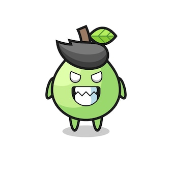 Evil expression of the guava cute mascot character , cute style design for t shirt, sticker, logo element