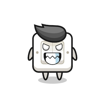 Evil expression of the light switch cute mascot character , cute style design for t shirt, sticker, logo element