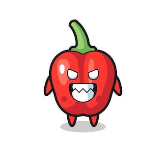 赤ピーマンの邪悪な表現かわいいマスコットキャラクター、tシャツ、ステッカー、ロゴ要素のかわいいスタイルのデザイン