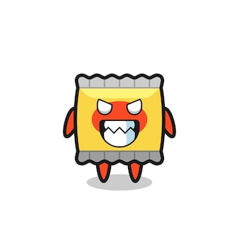 Evil expression of the snack cute mascot character , cute style design for t shirt, sticker, logo element