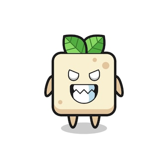 Evil expression of the tofu cute mascot character , cute style design for t shirt, sticker, logo element