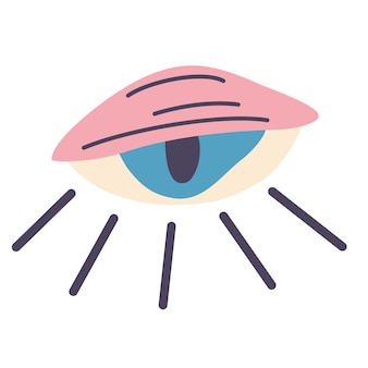 사악한 눈. 장식적인 화려한 마법의 눈. 직관과 영성 개념입니다. 마법, 오컬트 상징