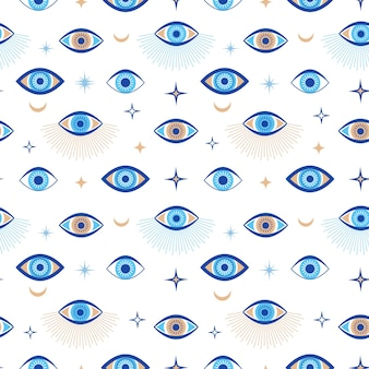 사악한 눈 완벽 한 패턴입니다. 마법의 부적과 신비로운 상징. 그리스 민족 파란색, 흰색 및 황금색 세 번째 눈. 평면 벡터 추상적인 배경 화면입니다. 부적 눈 부적 원활한 벽지 그림