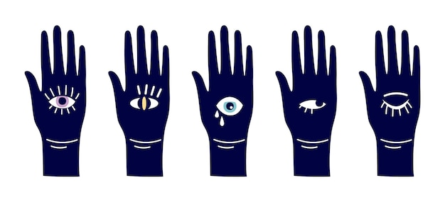 Evil eyes. magic hand with eye symbols. different open arms vector silhouettes