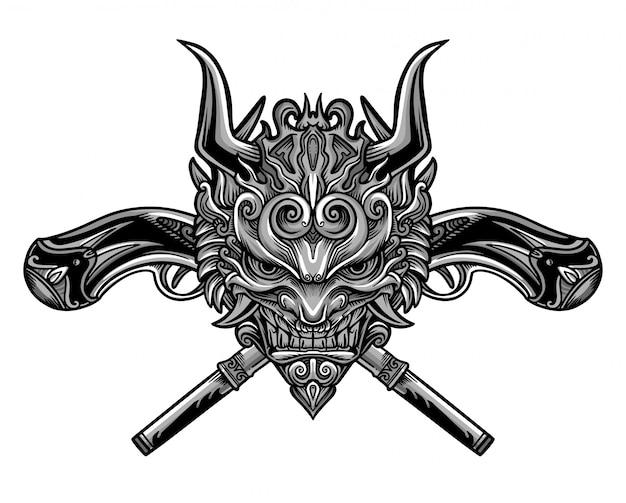 Evil gun mask vector