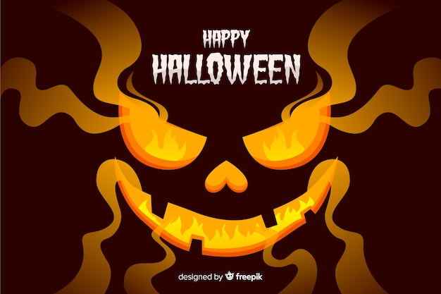 Evil halloween background with flat design