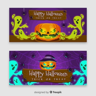 Evil halloween pumpkin banner with flat design