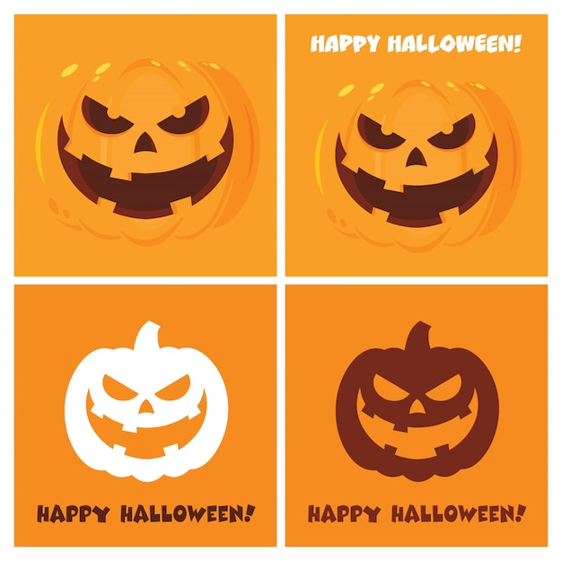 Evil halloween pumpkin cartoon posters flat design