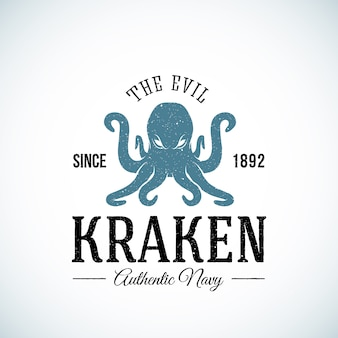 The evil kraken authentic navy abstract   logo template. textured.