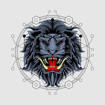 Evil lion with sacred geometry