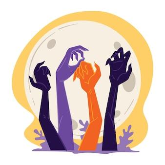 Злые монстры поднимаются из могил в ночь хэллоуина. воскрешение мертвых, зомби-апокалипсис или атака. руки ужасного существа и декоративной листвы, сияющий вектор полной луны в плоском стиле