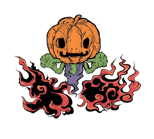 Evil pumpkin in dark fire