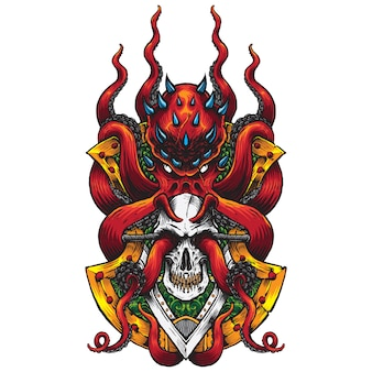 Evil red octopus and skull badge illustration