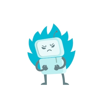 Evil robot in anger with fists and fire. character virus bot troll. enraged computer. flat color   illustration stock