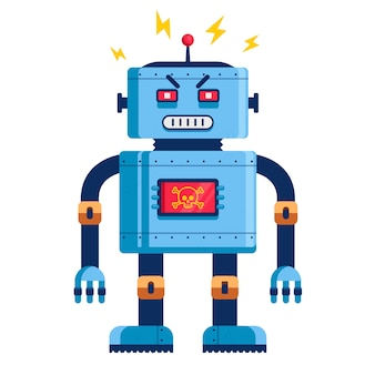 Evil robot in full growth. humanoid futuristic. cyborg killer. flat vector illustration