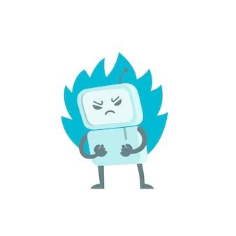 Злой робот в гневе с кулаками и огнем. персонаж вирусного бота тролля. разгневанный компьютер. плоская цветная иллюстрация