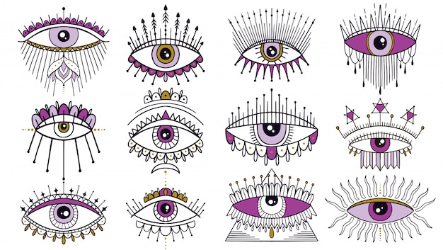 Evil seeing eye symbol set