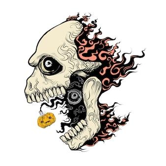 Evil skull in fire