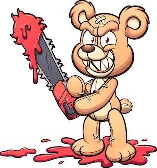Злой плюшевый мишка держит бензопилу и улыбается