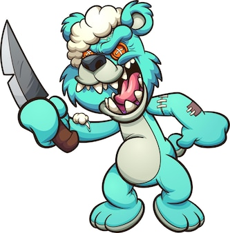 Evil teddy bear laughing and holding a knife