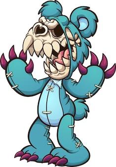 Злой плюшевый мишка с лицом черепа