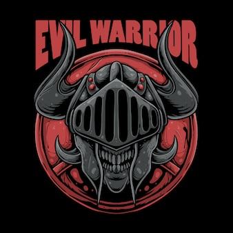 Evil warrior illustration. skull wearing knight helmet