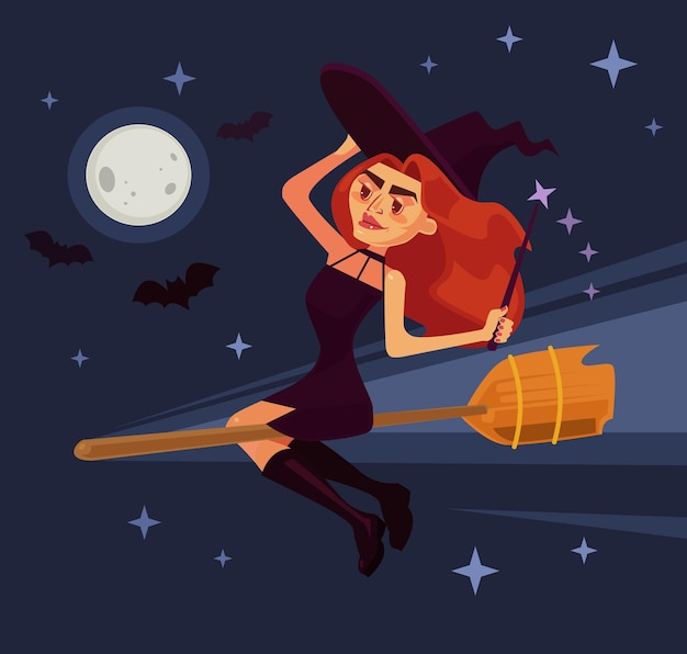 Evil witch woman character flying on broom flat cartoon illustration