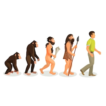 Evolution ape to man process isolated. evolutionary led to emergence of anatomically modern humans. physical anthropology, primatology, paleontology, evolutionary psychology, genetic concepts.