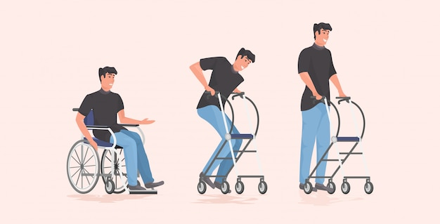 Evolution of disabled man patient sitting in wheelchair