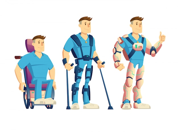 Evolution of exoskeletons for disabled people cartoon