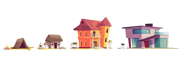 Evolution of house architecture, cartoon concept