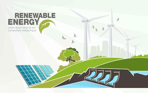 世界の緑化の再生可能エネルギー概念の進化。