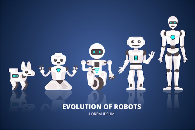 ロボットの進化android開発の段階フラットイラスト