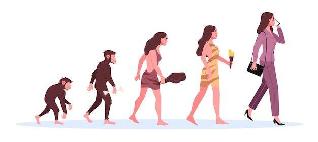 Evolution of woman. from monkey to businesswoman. historical development.